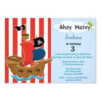 Invitación del cumpleaños del barco pirata invitación 12,7 x 17,8 cm