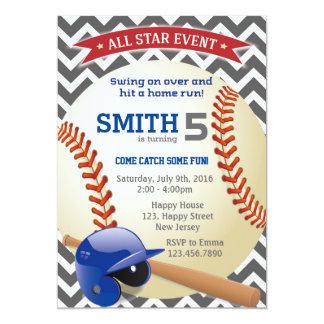 Invitación del cumpleaños del béisbol