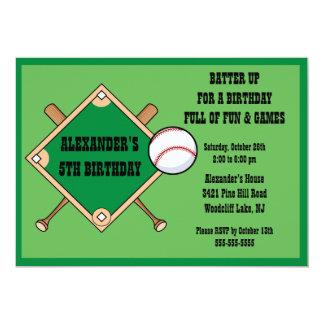 Invitación del cumpleaños del béisbol invitación 12,7 x 17,8 cm