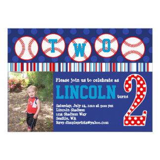 Invitación del cumpleaños del béisbol 2do cumplea