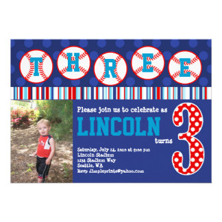 Invitación del cumpleaños del béisbol 3ro cumplea