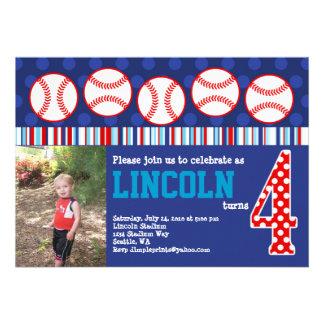 Invitación del cumpleaños del béisbol 4to cumplea