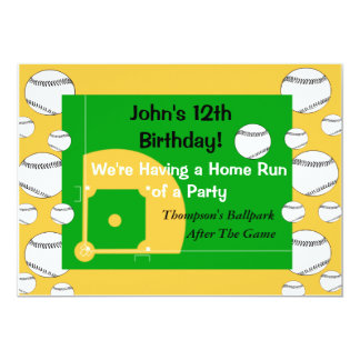 Invitación del cumpleaños del béisbol del muchacho