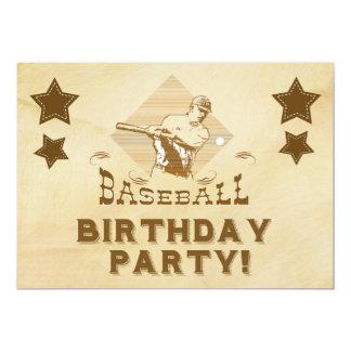 Invitación del cumpleaños del béisbol del vintage