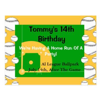 Invitación del cumpleaños del béisbol postales