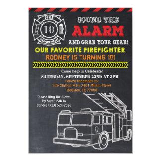 Invitación del cumpleaños del bombero del bombero
