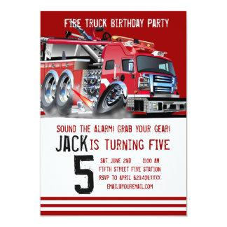 Invitación del cumpleaños del bombero del coche de