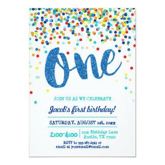 Invitación del cumpleaños del brillo azul del