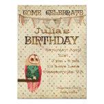 Invitación del cumpleaños del búho de Rosa Invitación 13,9 X 19,0 Cm