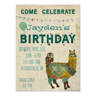 Invitación del cumpleaños del búho del trullo de invitación 16,5 x 22,2 cm