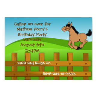 Invitación del cumpleaños del caballo del dibujo