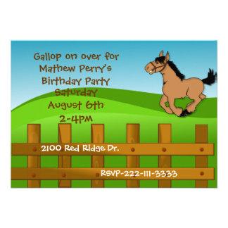 Invitación del cumpleaños del caballo del dibujo a