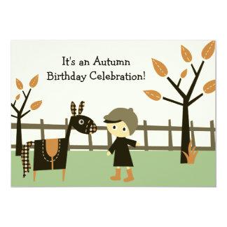 Invitación del cumpleaños del caballo del otoño