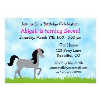 Invitación del cumpleaños del caballo para los invitación 12,7 x 17,8 cm