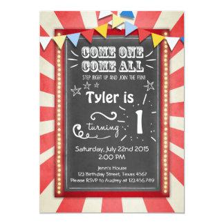 Invitación del cumpleaños del carnaval del circo