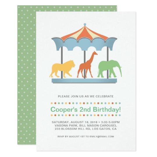 Invitación del cumpleaños del carrusel del safari