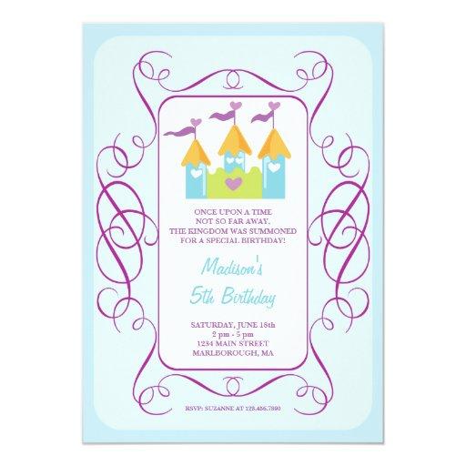 Invitación del cumpleaños del castillo de Rapunzel Invitación 12,7 X 17,8 Cm