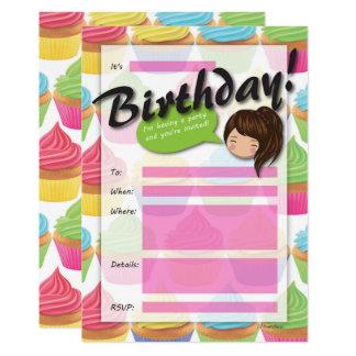 Invitación del cumpleaños del chica de la