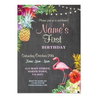 Invitación del cumpleaños del chica de la hawaiana
