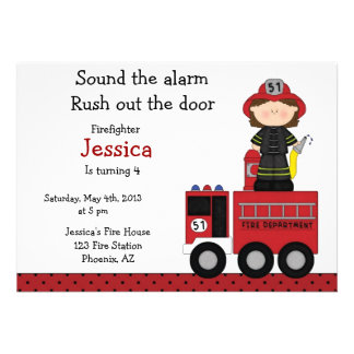 Invitación del cumpleaños del chica del bombero