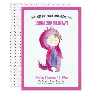 Invitación del cumpleaños del chica del dinosaurio