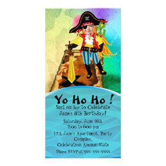 Invitación del cumpleaños del chica del pirata tarjetas fotograficas