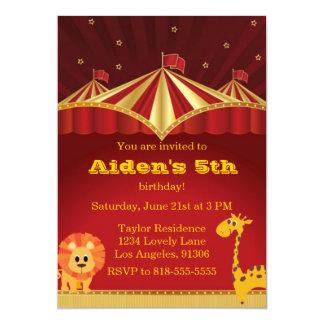 Invitación del cumpleaños del circo del niño