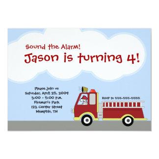 Invitación del cumpleaños del coche de bomberos invitación 12,7 x 17,8 cm