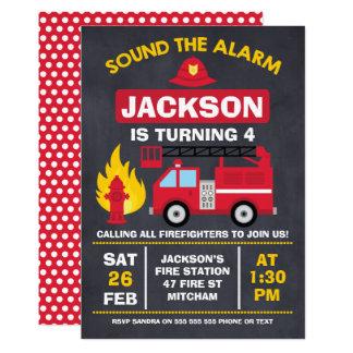 Invitación del cumpleaños del coche de bomberos o