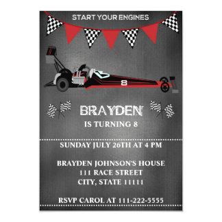 Invitación del cumpleaños del coche de carreras de