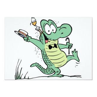 Invitación del cumpleaños del cocodrilo del invitación 12,7 x 17,8 cm