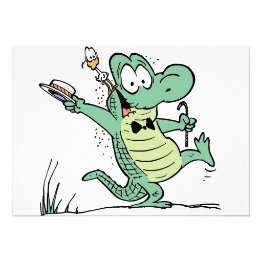 Invitación del cumpleaños del cocodrilo del pantan