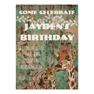 Invitación del cumpleaños del damasco de las invitación 13,9 x 19,0 cm