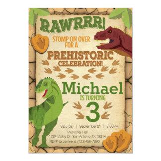 Invitación del cumpleaños del dinosaurio,