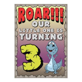 Invitación del cumpleaños del dinosaurio 3 años