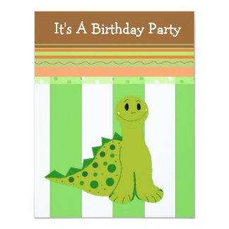 Invitación del cumpleaños del dinosaurio verde