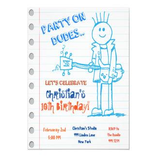 Invitación del cumpleaños del Doodle de la Invitación 12,7 X 17,8 Cm