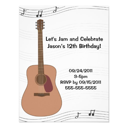 Invitación del cumpleaños del ejemplo de la guitar