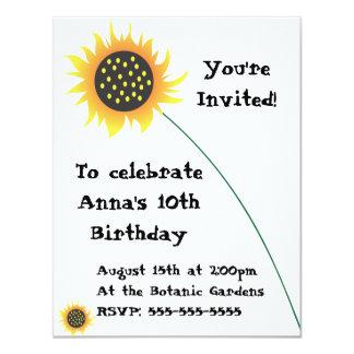 Invitación del cumpleaños del ejemplo del girasol