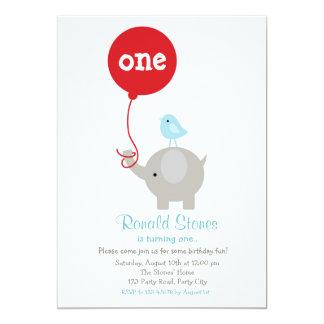 Invitación del cumpleaños del elefante con el