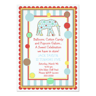 Invitación del cumpleaños del elefante del circo