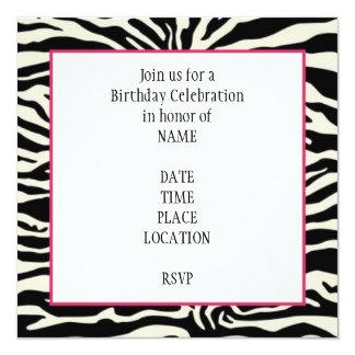 Invitación del cumpleaños del estampado de zebra