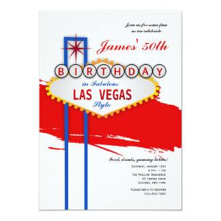 Invitación del cumpleaños del estilo de Las Vegas