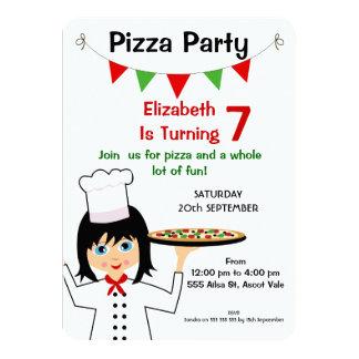 Invitación del cumpleaños del fiesta de la pizza