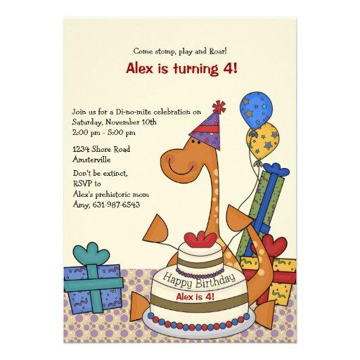 Invitación del cumpleaños del fiesta del dinosauri