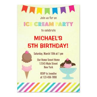 Invitación del cumpleaños del fiesta del helado invitación 12,7 x 17,8 cm