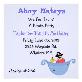 Invitación del cumpleaños del fiesta del pirata