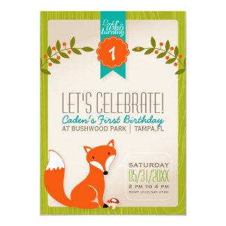 Invitación del cumpleaños del Fox del arbolado