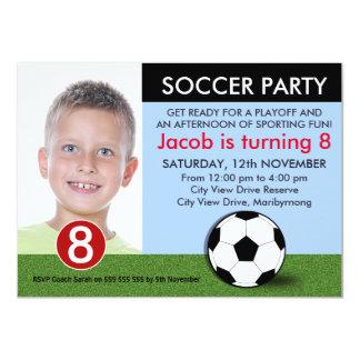 Invitación del cumpleaños del fútbol de la foto de invitación 11,4 x 15,8 cm