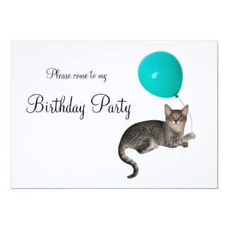 Invitación del cumpleaños del globo del gato